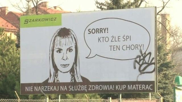 """Billboard z podobizną minister Bieńkowskiej reklamujący materaceMinister Bieńkowska """"reklamuje"""" materace. """"Sorry! Kto źle śpi, ten chory!"""""""