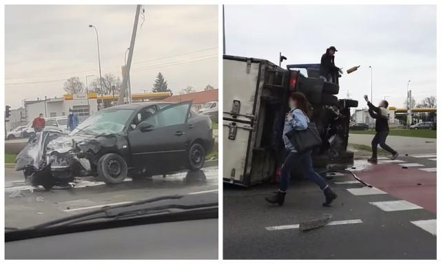 Wypadek na skrzyżowaniu Branickiego z Miłosza w Białymstoku. Osobówka zderzyła się z dostawczakiem.