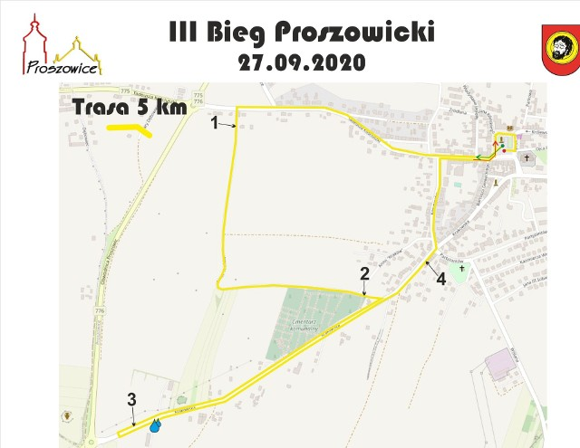 Trasa Biegu Proszowickiego na 5 km