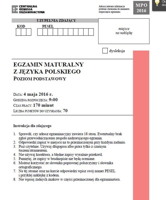 Matura 2016 Polski Podstawowy Lalka I Wiersz Herberta Na
