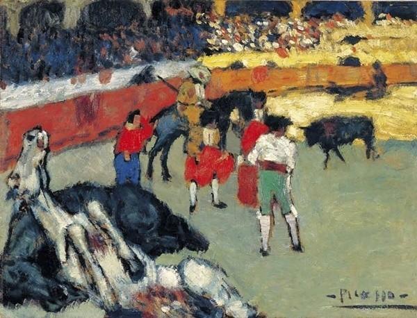 """Pablo Picasso – """"La Tauromaquia"""". Picasso inspirował się pracami Goi, korridę traktował jako instrument walki z dyktaturą wojskową"""