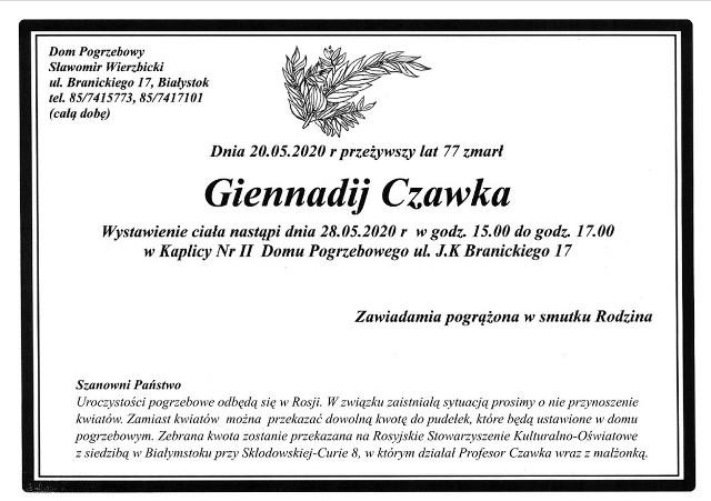 Prof. Giennadij Czawka zmarł w wieku 78 lat