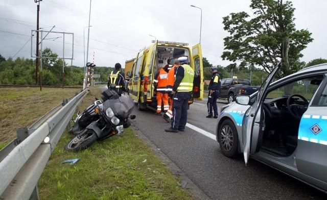 Wypadek motocyklisty w Sycewicach