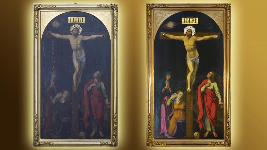"""Obraz """"Ukrzyżowanie"""" w kościele Farnym w Radomiu - z lewej widok przed, a z prawej - po odrestaurowaniu."""