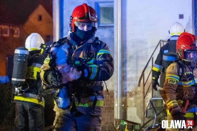 Pożar mieszkania w Oławie.