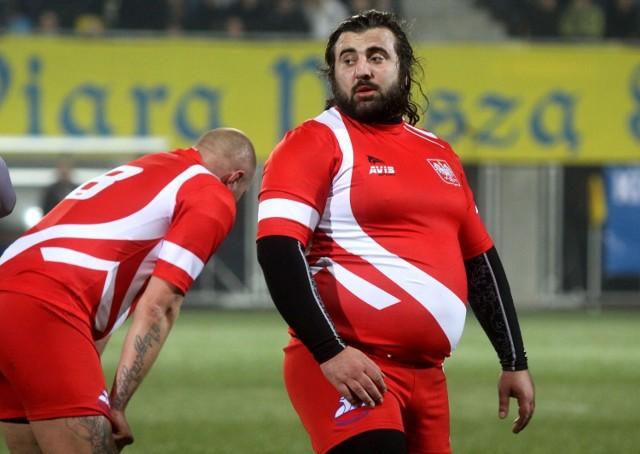 Merab Gabunia w koszulce reprezentacji Polski