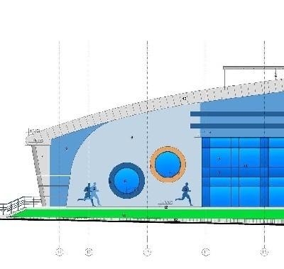 Elewacja pływalni miejskiej będzie w kolorze niebieskim