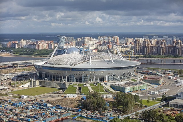 Stadion Kriestowskij w Sankt Petersburgu. Widok z lotu ptaka