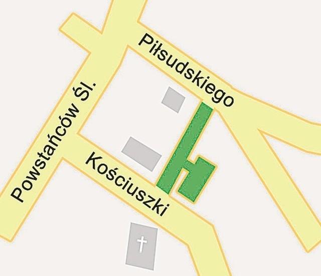 Kolorem zielonym zaznaczono projektowany parking oraz nową drogę, wzdłuż której także usytuowane będą miejsca postojowe.