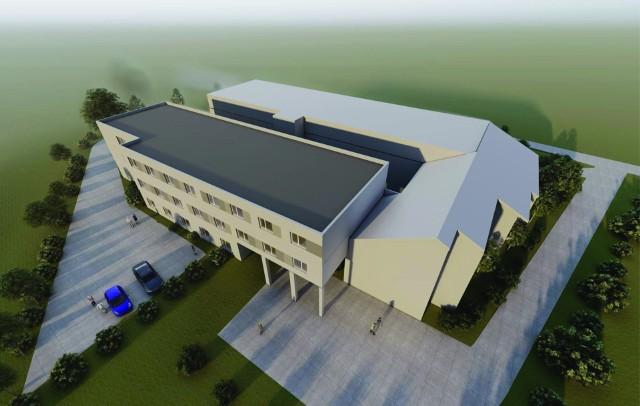 """Wizualizacja rozbudowanego ośrodka zdrowia w Wieliczce. Jego część modułowa będzie liczyć ok. 2000 mkw. Przychodnia """"urośnie"""" do końca 2021 roku. Szacunkowa wartość inwestycji - 14 mln zł"""