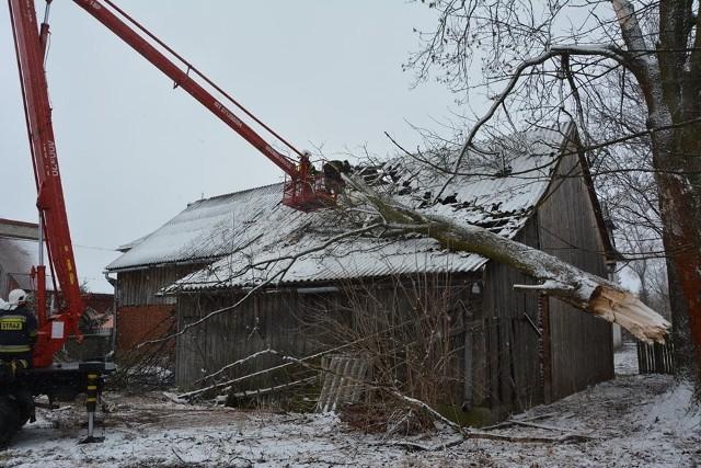 Czarny Dunajec. Drzewo powaliło się na budynek.