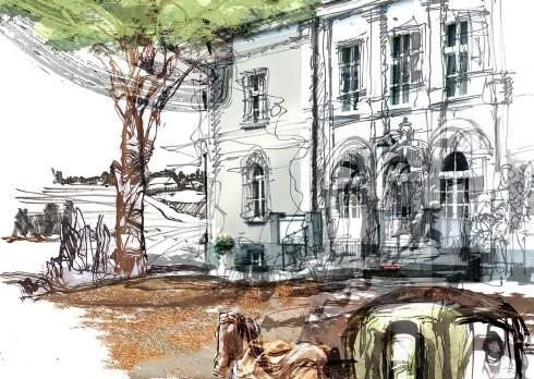 """To tylko jedna z przepięknych ilustracji wykonanych przez paryskiego artystę Artura Majkę do publikacji Ośrodka Chopinowskiego w  """"Przygody Fryderyka wSzafarni"""""""