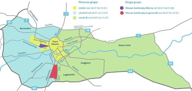 Strefy I (żółta) i II (niebieska) obowiązują od wtorku. Strefa III (zielona) zostanie wprowadzona jutro