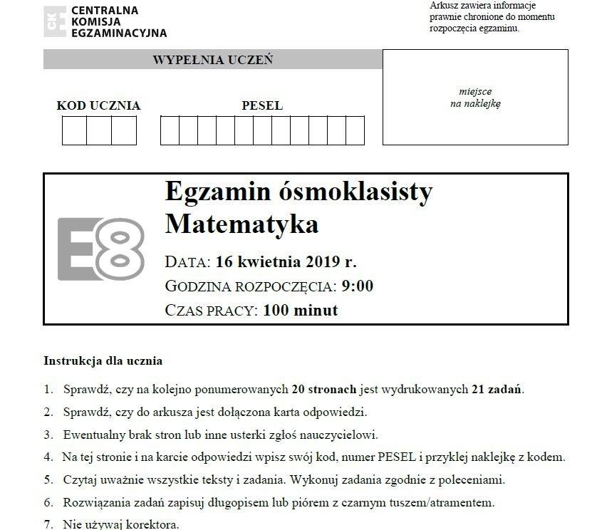 EGZAMIN ÓSMOKLASISTY 2019 MATEMATYKA ODPOWIEDZI, ROZWIĄZANIA, ARKUSZ CKE. Test 8-klasisty z matematyki 16.04.2019 [klucz odpowiedzi, arkusz]