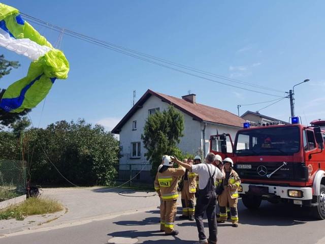 Wypadek paralotniarza koło Wiela 8.08.2020