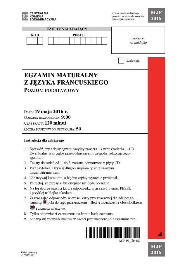 Matura 2016: język francuski poziom podstawowy ARKUSZE + TRANSKRYPCJA