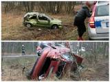 Opel dachował na tzw. trasie śmierci za Świdnicą (zdjęcia)