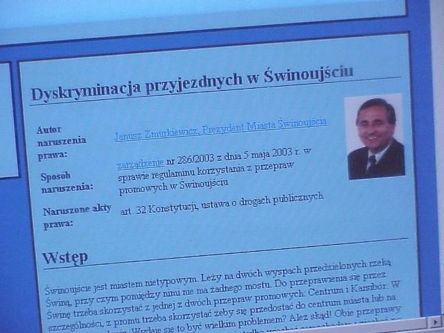 Tak wygląda tytułowa strona witryny internetowej www.sakowski.pl/bezprawie/prom.html.
