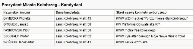 Wybory samorządowe 2014 - Kołobrzeg. Kandydaci na prezydenta.