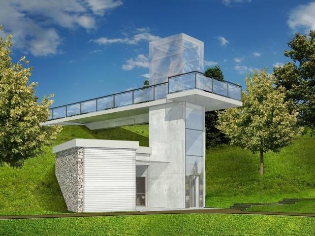 Pomiędzy widokowym a środkowym tarasem parku powstanie winda (wizualizacja)