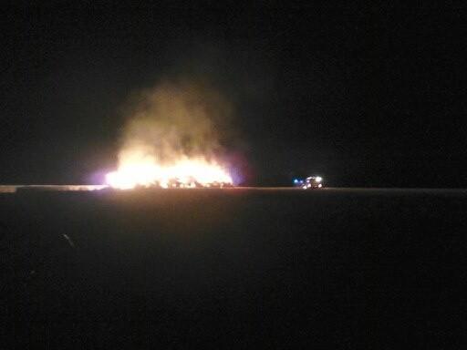 Pożar stogu w w miejscowości Sobiesiernie
