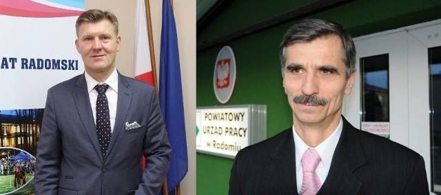 Waldemar Trelka, starosta radomski (z lewej) złożył wniosek o odwołanie dyrektora Powiatowego Urzędu Pracy w Radomiu, Józefa Bakuły (z prawej).