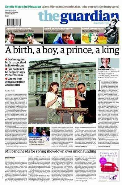 """Jedynka """"The Guardian"""" mówiąca o narodzinach syna Kate i Wiliama"""