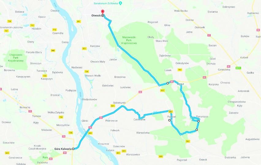 Z Góry Kalwarii prawą stroną Wisły w stronę Otwocka. 40 km....