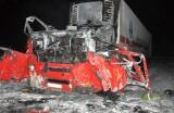 Siemiatycze. Wybuch w kabinie ciężarówki przy Armii Krajowej. Kierowca przeleciał kilkanaście metrów (zdjęcia)