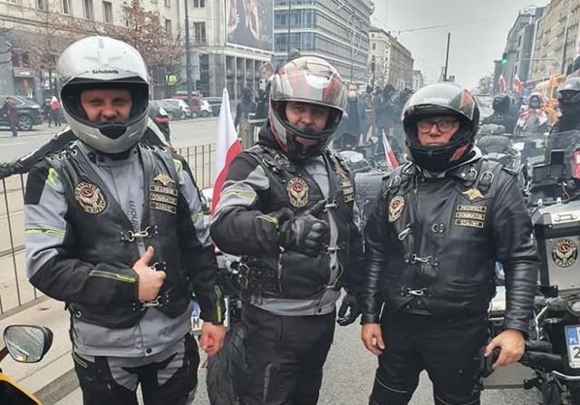 Grójeccy motocykliści podczas Marszu Niepodległości w Warszawie.