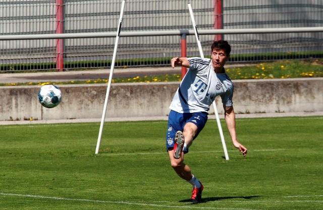 Robert Lewandowski podczas treningu Bayernu Monachium