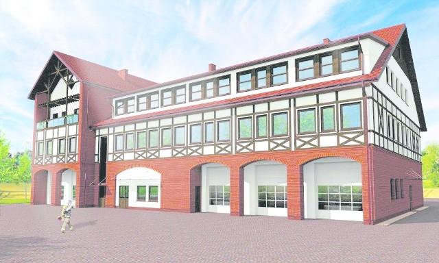 Tak ma wyglądać nowy ośrodek szkoleniowy dla strażaków, który powstaje w gminie Łubianka. Jeśli wszystko pójdzie zgodnie z planem, budynek ma być gotowy do końca tego roku