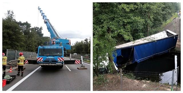 Akcja wyciągania ciężarówki na A6