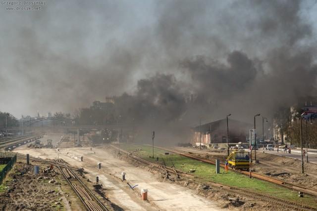 Retropociąg przejechał przez Kwidzyn. Parowóz zostawił nad miastem kłęby dymu [14.04.2018]
