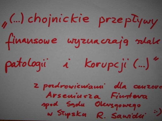 Taką kartkę z pozdrowieniami wysłał Sawicki dziś ze Słupska po wygranym procesie z burmistrzem Chojnic