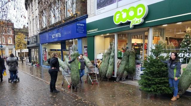 Choinki od braci Zielonków w sklepie Food Plus w Anglii.