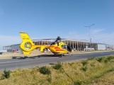 Wypadek na budowie centrum logistycznego we Wrześni. Pracownik spadł z wysokości. Na miejscu wylądował śmigłowiec LPR