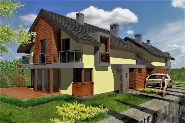 Projekt domów bliźniaczych na 11-arowej działce w Sławkowicach