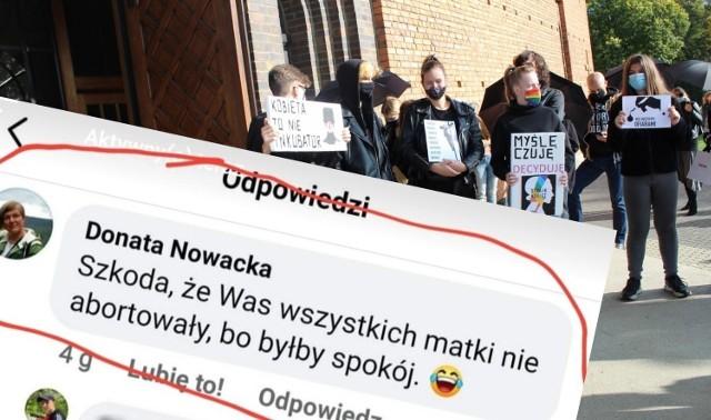 Nauczycielka zamieściła wpis pod artykułem o proteście przeciwko zakazowi aborcji w Lesznie.