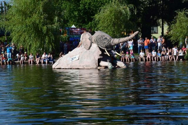 """Ekipa z Krakowa, która przemierzyła Nettę na słoniu wygrała mistrzostwa """"Pływania na byle czym"""". Płynące na platformie zwierzę machało uszami, polewało wodą i miało makijaż."""