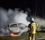 Pożar porzuconego samochodu w okolicy Gościna [ZDJĘCIA]