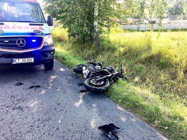 W wypadku ucierpiał kierujący motocyklem