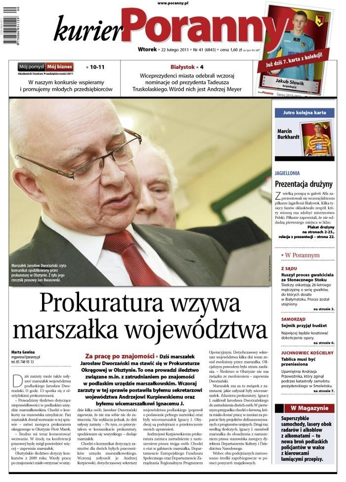We wtorkowym wydaniu Kuriera Porannego z 22 lutego 2011 roku polecamy: