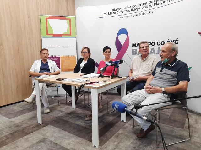 Konferencja prasowa w Białostockim Centrum Onkologii z okazji IX Europejskiego Tygodnia Profilaktyki Nowotworów Głowy i Szyi.