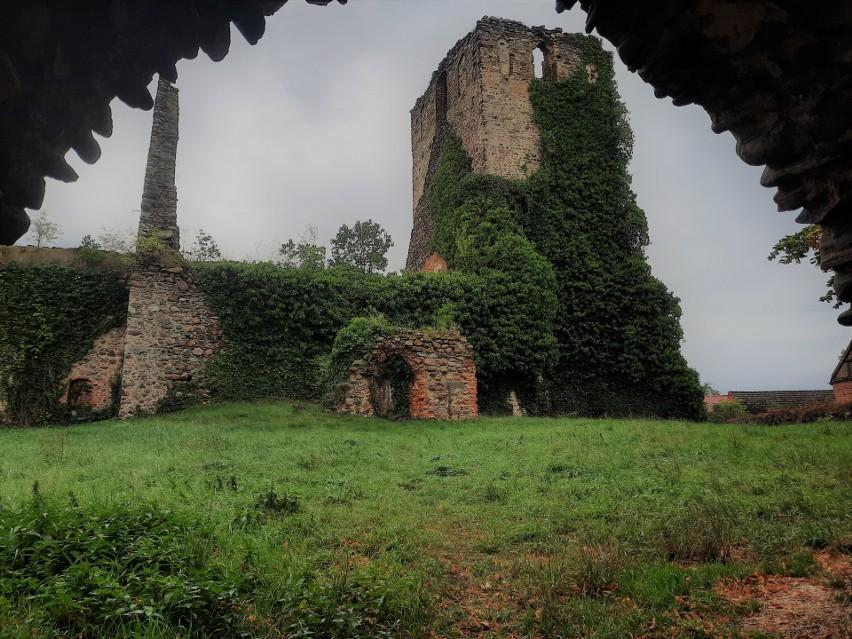 Klimatyczne ruiny średniowiecznej świątyni, mury porośnięte...