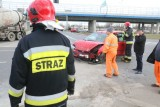 Wypadek przy wjeździe na AOW koło stadionu [ZDJĘCIA]