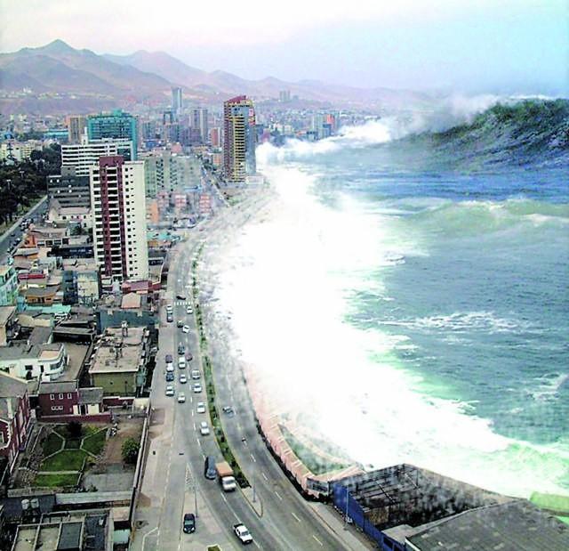 Fale Tsunami zabierają po drodze wszystko