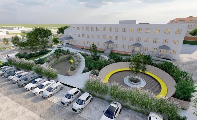 Tak może wyglądać po rozbudowie ośrodek zdrowia w Wieliczce i jego otoczenie. Koncepcja autorstwa Renaty Koziny, studentki Politechniki Krakowskiej