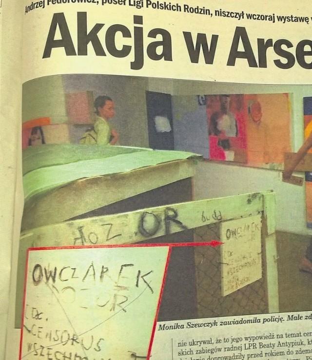 3 września 2004. Pomazana długopisem  przez Andrzeja Federowicza, białostockiego posła Ligi Polskich Rodzin, ekspozycja w galerii Arsenał.