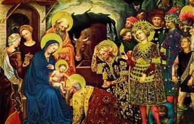 """Włoski artysta Gentile da Fabriano swój słynny """"Pokłon Trzech Króli"""" namalował w 1423 roku. Użył do tego tempery na desce."""